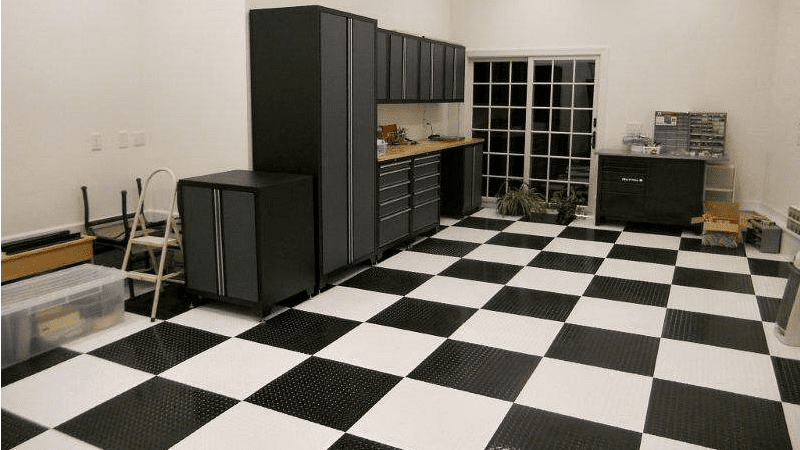 Black And White Checkered Peel And Stick Garage Floor Tile