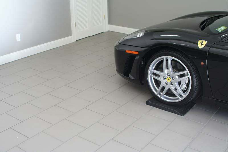 porcelain tiled garage floor