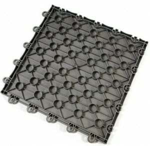 Bottom grid of plastic garage floor tile