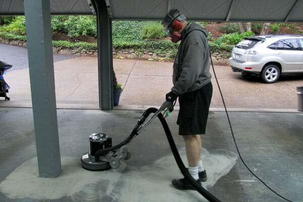 How to grind a garage floor the easy way all garage floors for Concrete floor cleaning machine rental