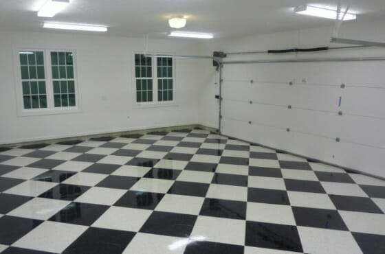 epoxy coated VCT garage floor tile