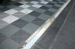 diamond plate tranistion strips for interlocking garage floor tile