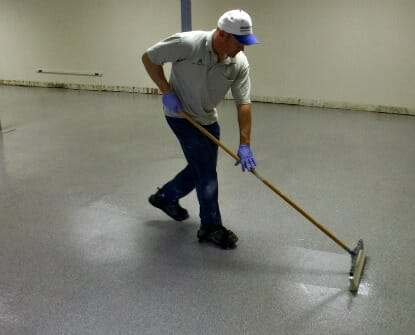 how to apply garage floor epoxy top coat