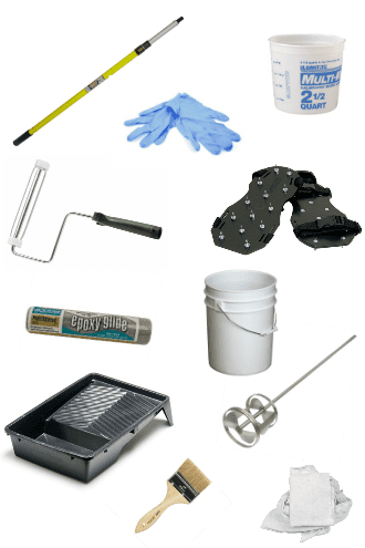 tools and supplies for applying garage floor epoxy coating