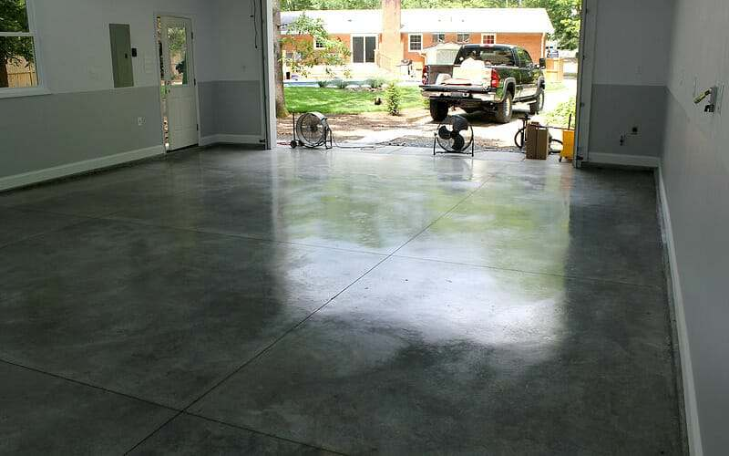 Polished look of garage floor burnished with a densifier stainguard