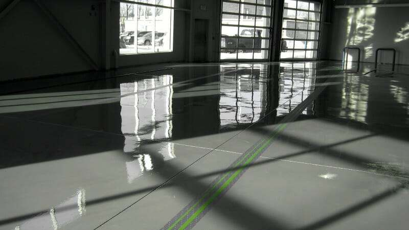 Grey garage floor epoxy coating