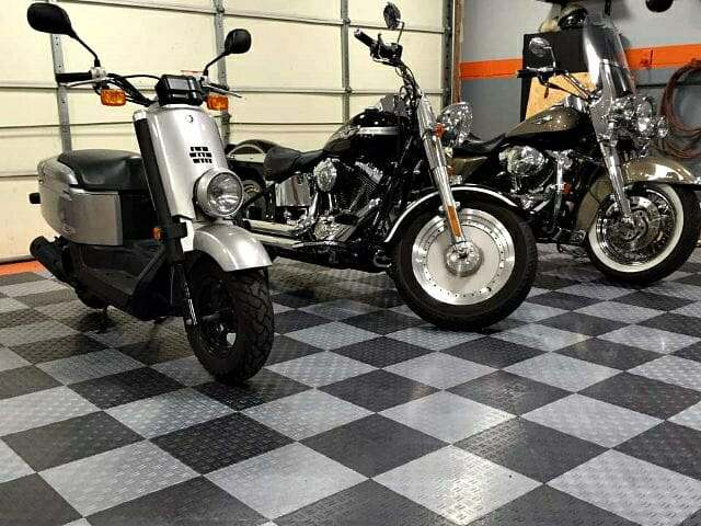 TrueLock HD interlocking garage floor tile with motorcycles