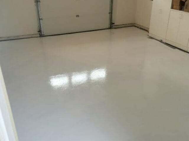 White Rust Bullet garage floor paint