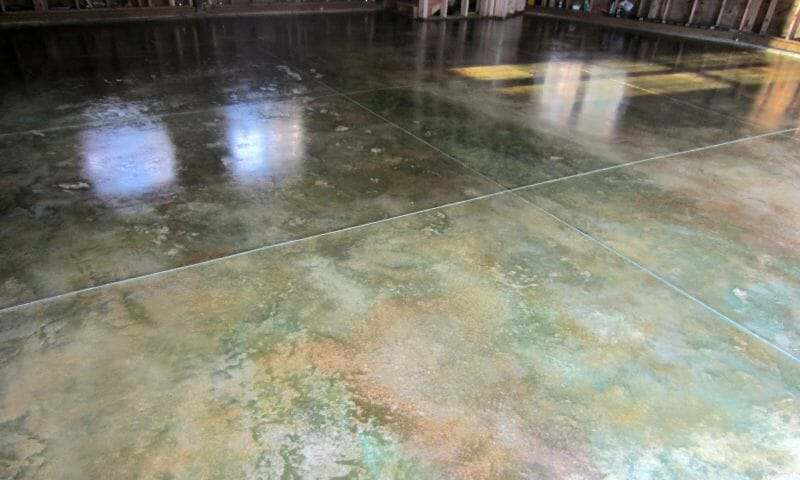 Acid stained garage floor
