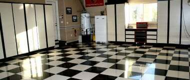 Checkered porcelain garage floor tile for garage