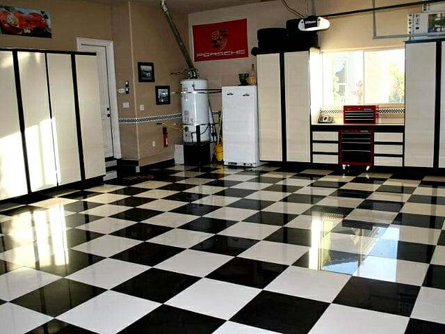 Checkered porcelain tile garage floor