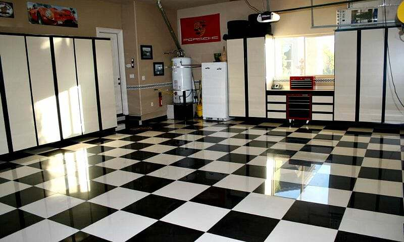 Checkered porcelain garage floor tile for The Benefits of Porcelain Garage Floor Tile  All Floors