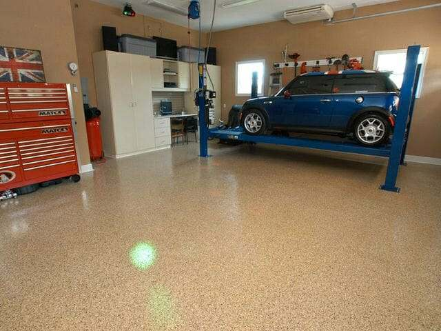 Tan epoxy garage floor coating