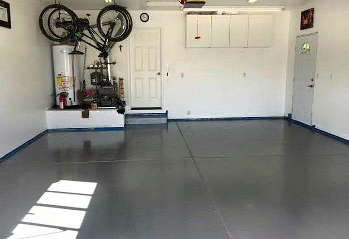 White Rust Bullet Floor Coating Before Application After Of Metallic Gray