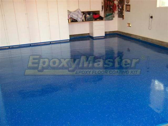 Blue garage floor epoxy coating