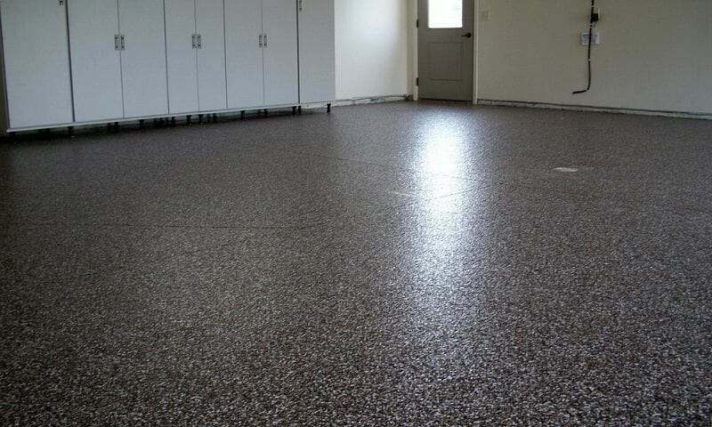 Autumn Brown garage floor epoxy with polyurethane top coat