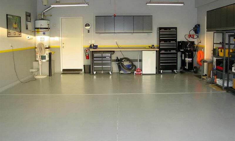 Gray EpoxyShield water based garage floor epoxy by Rust-Oleum