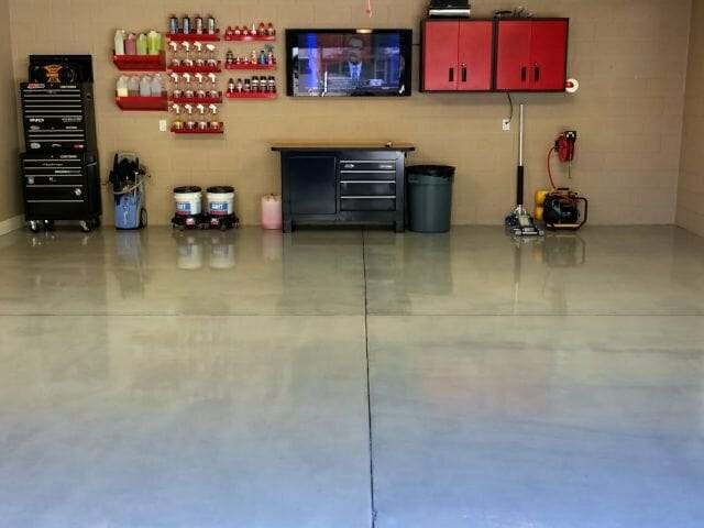 Metallic silver garage floor epoxy