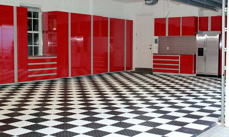 Black and white Swisstrax garage floor tile