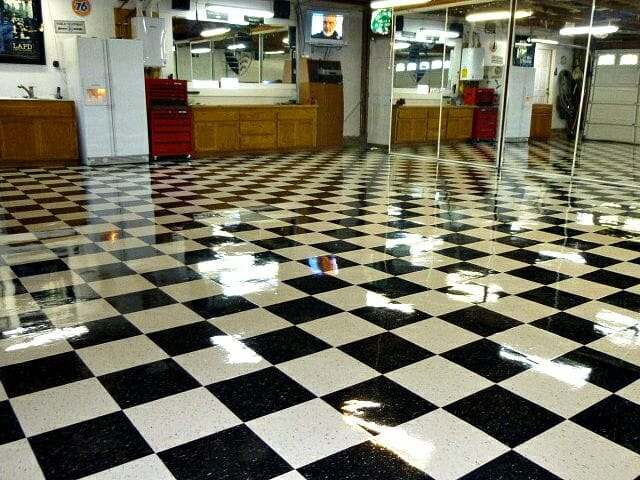 checkered polished vct tiled garage floor