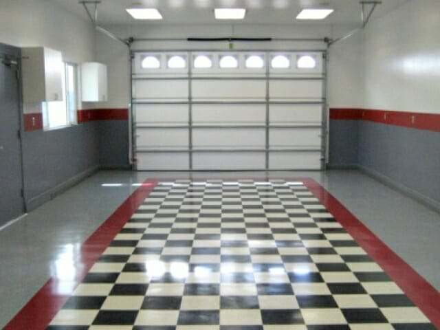 Checkered vinyl composite garage floor tile