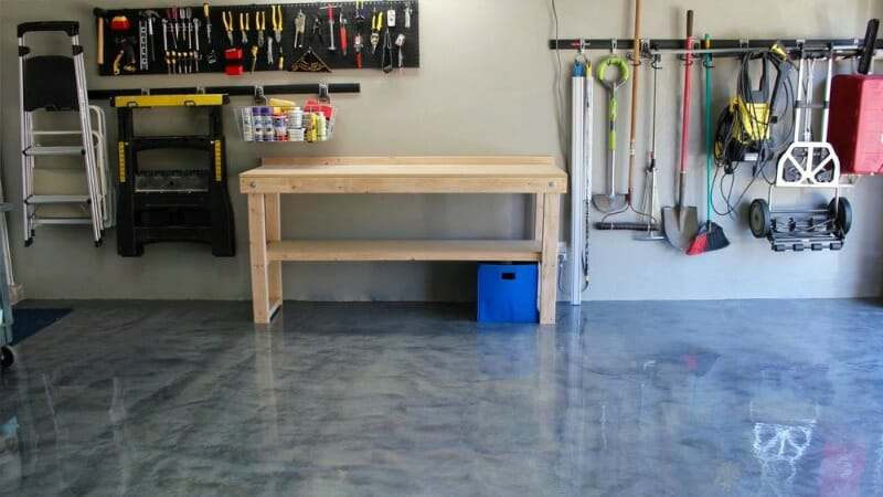 RockSolid metallic epoxy garage floor coating in Silver Bullet
