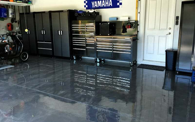 RockSolid Metallic garage floor coating in Silver Bullet